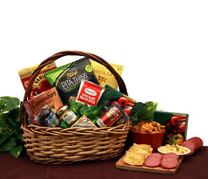 Snack Cravings/Meat/Cheese Spread & Snack Filled Gift Basket