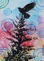 ACEO original miniature painting ~ Raven Perspective