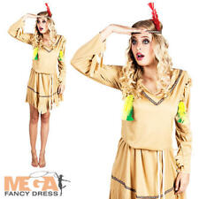 Native American Indian Ladies Fancy Dress Wild West Womens Adults Costume Outfit