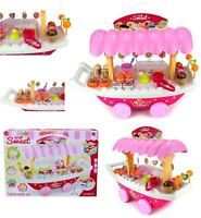 Kids Sweet Shop Luxury Candy Car Pink Ice Cream Cart Playset Toy Battery Operate