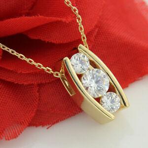 Three Stone Round 2.2CT Moissanite 14K Yellow Gold Finish Women Pendant Necklace