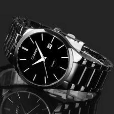 CURREN Herrenuhr Edelstahl Sport Analog Quarzuhr Datum Armbanduhr Schwarz/Weiß