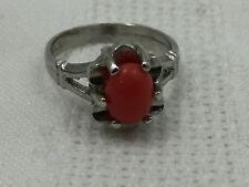 Fashion Jewelry Ring-Vintage Retro Look Orange Stone, Silver Band-Size 5.5-Look!