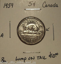 A Canada Elizabeth II 1959 Lump on Tail Five Cents - Bu