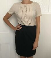 Hobbs Women Dress Size 10 Office Smart Knee Length Two Tone Wool Mix Short Sleev