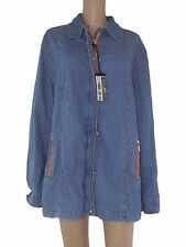 elena miro sport donna giubbotto giacca jeans blu denim taglia 54 xxxl zip