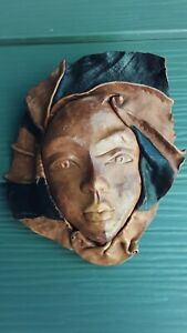 Africa Tribal Leather Face Hand Sculptured Wall Art Decorative Mask #2