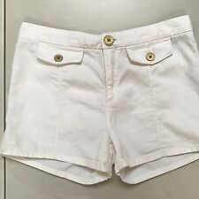Tigerlily Shorts Off White Cotton Waisted Tailored Gold Buttons Size 8