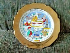 "Beautiful Crest-O-Gold Pennsylvania Decorative 9"" Plate 22K Gold Trim"