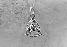 "Sterling Silver (925)  Solid 3D Charm ""Horse's Head & stirrup"""