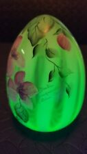 Fenton Hand Painted Butterfly Egg Vaseline Glass Opalescent Diane Gersel 1997