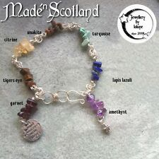Ooak Chakra WireWrapped Rose Chain Maille Gemstone Chip & Charms Bracelet