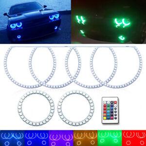 6pc RGB LED Angel Augen Halo Ring Demon Für Dodge Challenger Scheinwerfer Licht