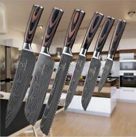 6PCS  Damascus Pattern Knife Damask Kitchen Knives Chef  SET Wooden Handle