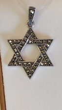 92.5 Sterling Silver Vintage Marcasite Star of David Pendant Necklace USA