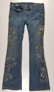 X2 Denim Laboratory Flower Embellished Rhinestones Flare  Women's Jeans Size 28