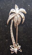 Silver Plated Marcasite Palm Tree Lapel Pin Brooch