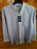 NEW W TAGS Izod Button Up Shirt 4XL Long Sleeve Multi Plaid Casual 100% Cotton