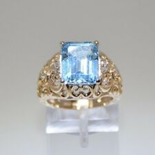 Filigree Style Ring With Blue Topaz on14k Yellow Gold, Ring Size 5.5