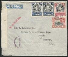 KUT - Kenya 1942 Gailey & Roberts Limited airmail to USA KGVI NAIROBI datestamps