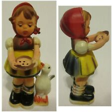 Vintage 50's Plastic Toy Girl Doll Moving Arms Eating Pie Duck Ornament Cake Top