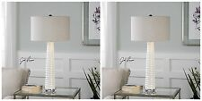 TWO MODERN DESIGNER GLOSS WHITE CRACKLED GLASS BRUSHED NICKEL DETAIL TABLE LAMP