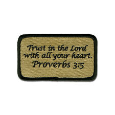 Tactical Combat Morale Backpack Patch Badge EMB Hook and Loop - Proverbs 3:5 ACU