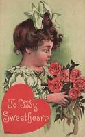 1910 VINTAGE To My Sweetheart Pretty Girl with Bunch of Red Roses POSTCARD