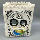 Blue Sky White Sugar Skull Luminary Bag Halloween Tealight Candle Holder NEW