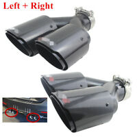 """Dual Tube Carbon Fiber Exhaust Tip Dual Pipe ID:2.5"""" 63mm OD:3.5"""" 89mm (L+R)side"""