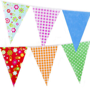 Bunting Vintage Gingham Wedding Birthday Outdoor 20 Flags 10M Floral Shabby Chic