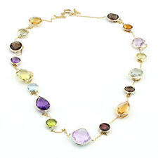 14K Yellow Gold Necklace With Multi Color & Multi Shape Gemstones 36 Inches