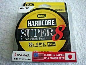 DUEL HARDCORE SUPER 8 MICRO PITCH BRAID 150-YDS 50LB TEST LINE COLOR WHITE