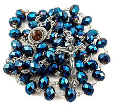 Deep Blue 10mm Crystal Beads Catholic Rosary Necklace Holy Soil Medal & Cross