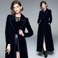 Womens Blue Velvet Slim Swing Maxi Dress Long Overcoat Elegant Coat Full Length