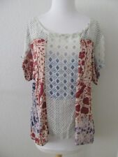 Urban Outfitters NEW Ecote Top L Birds Floral Knit & Chiffon Ivory Short Sleeve