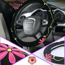 Black knitted fabric Flower Embroidery 38cm Car Driving Steering Wheel Cover