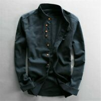 Men Cotton Linen Shirt Formal Retro Long Sleeve Mandarin Collar Frog Button Tops