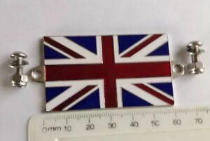Union Jack flag Badge 6cm X 3cm  Inc Fixings Land Rover Mini Triumph Ford MG Car