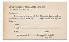 1940s Colt Firearms Co Adv Card for Historical Prints