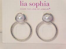 "Beautiful Lia Sophia ""PRELUDE"" Dangle Hoop Earrings, NWT"