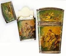 Antique French Sterling Silver & Vernis Martin Painting Necessaire & Note Card