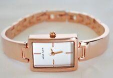 Anne Klein AK2486SVRG Rectangular Bangle Bracelet Gold-Tone Watch NIB