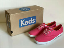 NEW! KEDS CHAMPION GINGHAM PLAID LACE CORAL PINK CANVAS SHOES SNEAKERS 6 36 SALE