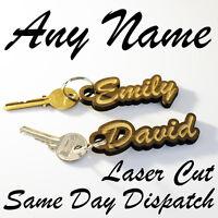 PERSONALISED Wooden KEYRING Novelty Teacher Gift Engraved Name Keychain Wood