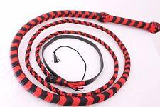 Bullwhip 6 Feet Nylon ( Para-cord) Heavy Duty 12 Plaited Red & Black Bull Whip