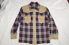 Vtg Homemade Western Shirt Snap Front Heavy Wool Rockabilly Plaid Jacket Rare
