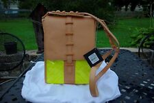 NWT L.A.M.B. By Gwen Stefani Naked Leather w/ Yellow Plastic Cross Body Handbag