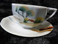 Hand Painted Lusterware Teacup and Saucer