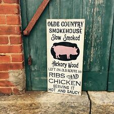 "Large Rustic Wood Sign - ""Old Country Smokehouse"" BBQ Sign, Pig, Kitchen"